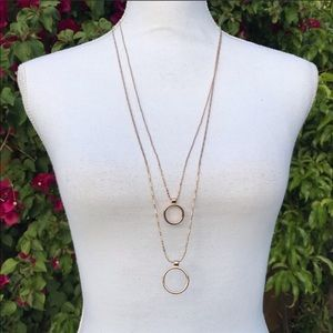 Banana republic double chain long gold necklace